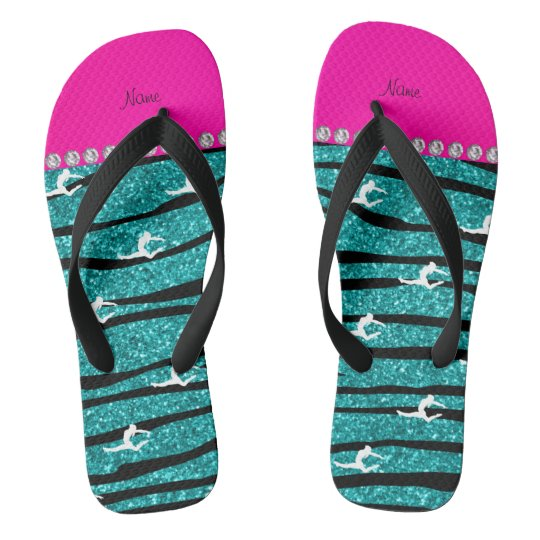 Name gymnast turquoise glitter zebra stripes flip flops