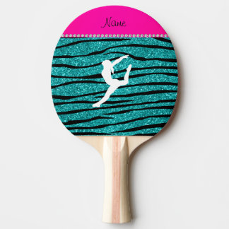 Name gymnast turquoise glitter zebra stripes ping pong paddle