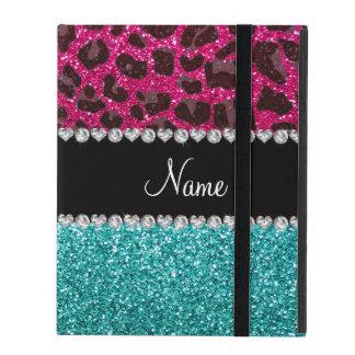 Name hot pink glitter leopard turquoise glitter iPad folio cover