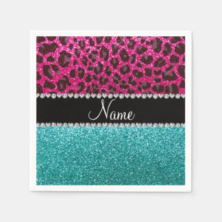 Name hot pink glitter leopard turquoise glitter standard cocktail napkin