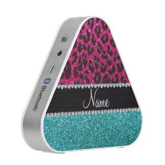 Name hot pink glitter leopard turquoise glitter speaker