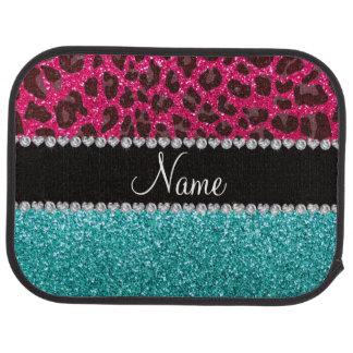 Name hot pink glitter leopard turquoise glitter car mat