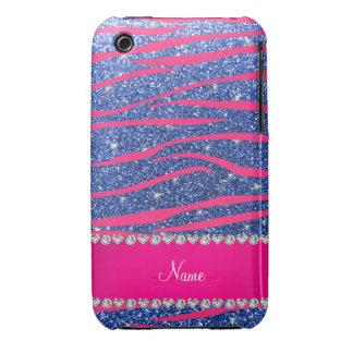 Name hot pink zebra stripes blue glitter Case-Mate iPhone 3 case