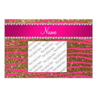 Name hot pink zebra stripes gold glitter photographic print