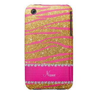 Name hot pink zebra stripes yellow glitter iPhone3 case