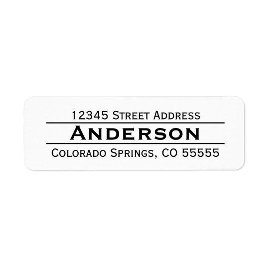 Name in Centre - Return Address Label