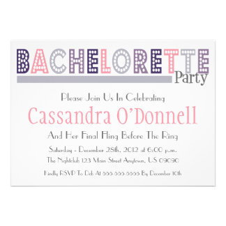 Name In Lights Bachelorette Party Invites (Gray)