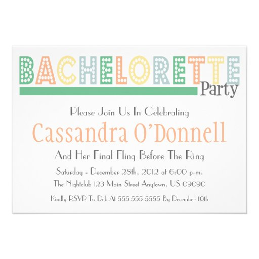 Name In Lights Bachelorette Party Invites (Green)