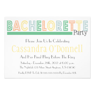 Name In Lights Bachelorette Party Invites Green