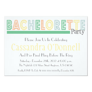 "Name In Lights Bachelorette Party Invites (Green) 5"" X 7"" Invitation Card"