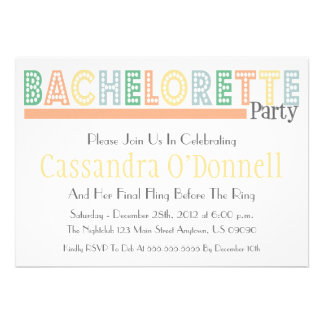 Name In Lights Bachelorette Party Invites Orange