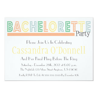 Name In Lights Bachelorette Party Invites (Orange)