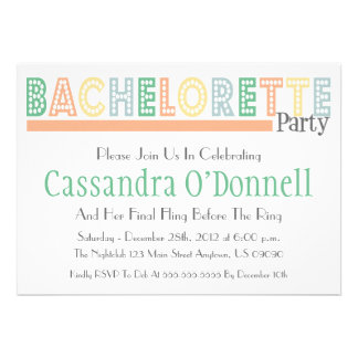 Name In Lights Bachelorette Party Invites (Orange)