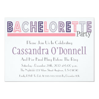 """Name In Lights Bachelorette Party Invites (Pink) 5"""" X 7"""" Invitation Card"""
