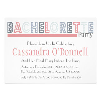 Name In Lights Bachelorette Party Invites Pink