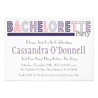 Name In Lights Bachelorette Party Invites Plum