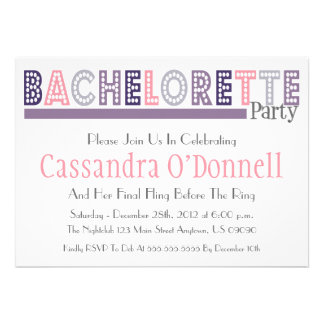 Name In Lights Bachelorette Party Invites Purple
