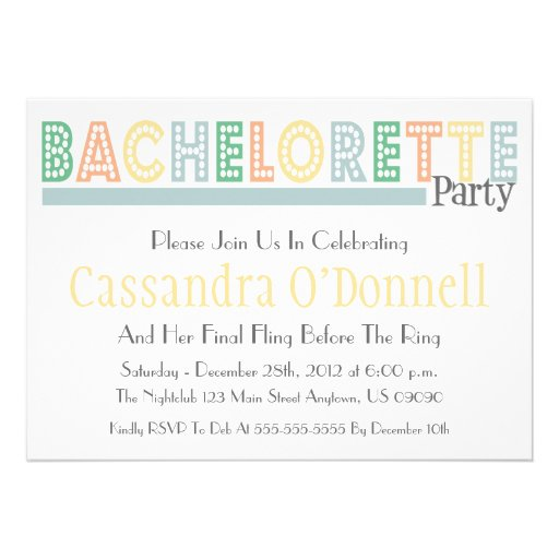 Name In Lights Bachelorette Party Invites (Sage)