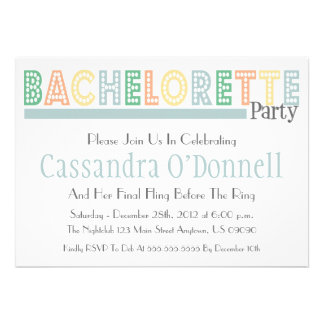 Name In Lights Bachelorette Party Invites Sage