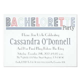 "Name In Lights Bachelorette Party Invites (Silver) 5"" X 7"" Invitation Card"