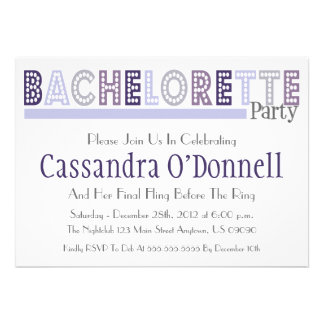 Name In Lights Bachelorette Party Invites Violet