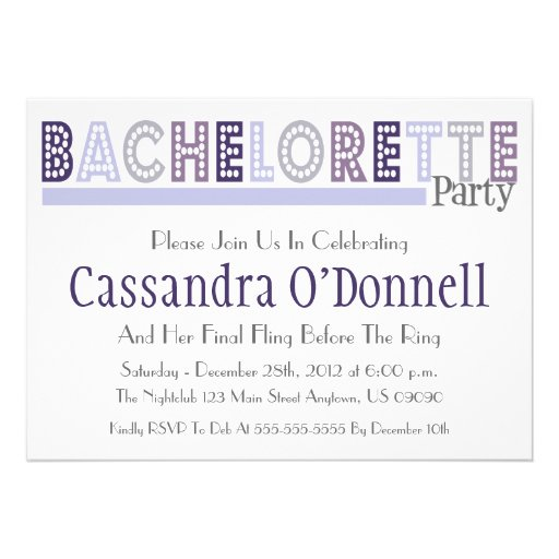 Name In Lights Bachelorette Party Invites (Violet)