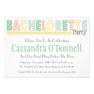 Name In Lights Bachelorette Party Invites Yellow