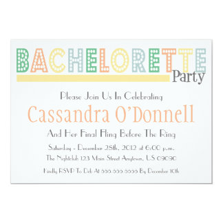 "Name In Lights Bachelorette Party Invites (Yellow) 5"" X 7"" Invitation Card"