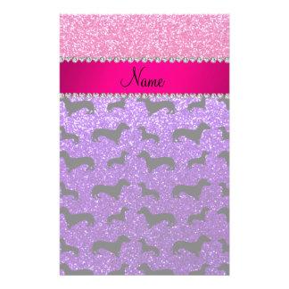 Name indigo purple glitter dachshunds pink glitter customised stationery