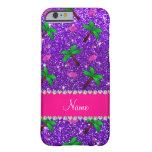 Name indigo purple glitter flamingos palm trees barely there iPhone 6 case