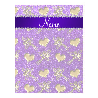 Name indigo purple glitter gold roses hearts flyer design