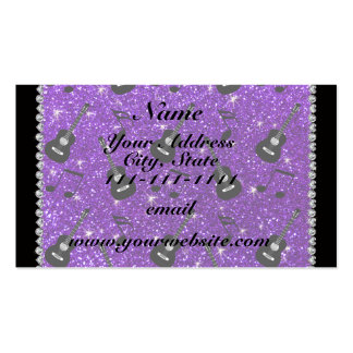 Name indigo purple glitter guitars music notes pack of standard business cards