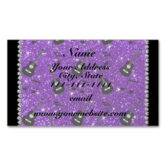 Name indigo purple glitter guitars music notes magnetic business cards