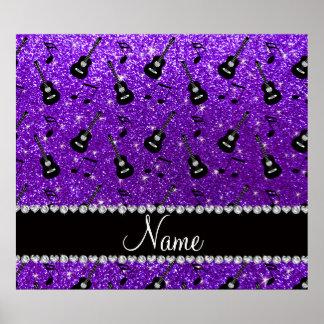 Name indigo purple glitter guitars music notes poster