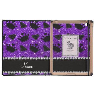 Name indigo purple glitter princess crowns diamond iPad folio case