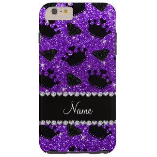 Name indigo purple glitter princess crowns diamond tough iPhone 6 plus case