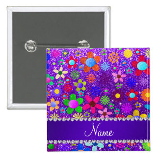 Name indigo purple glitter retro flowers 15 cm square badge