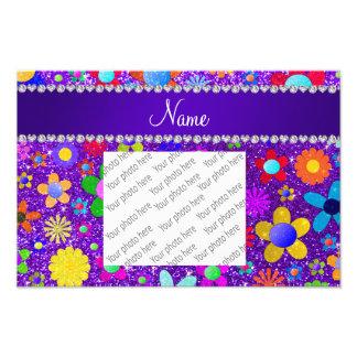 Name indigo purple glitter retro flowers photo art