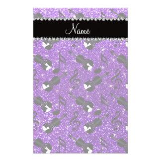 Name indigo purple glitter violins music notes personalized stationery
