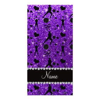 Name indigo purple glitter volleyballs hearts bows photo card template