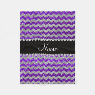 Name indigo purple silver glitter chevrons fleece blanket
