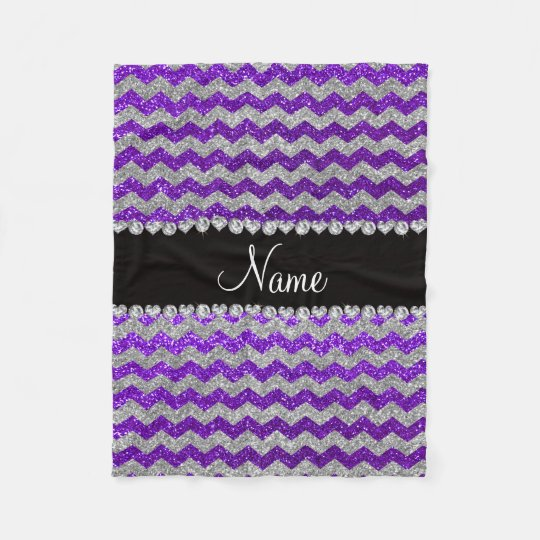 Name indigo purple silver glitter chevrons fleece blanket