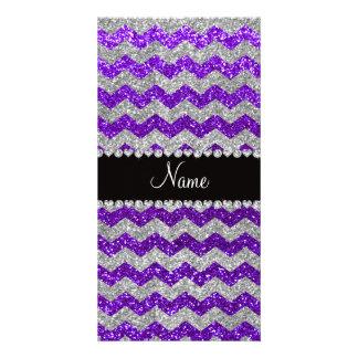 Name indigo purple silver glitter chevrons photo cards