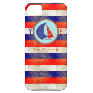 name/initial sail marine stripes barely there iPhone 5 case