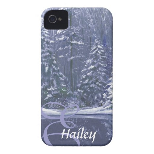 Name & initial winter trees blue case iPhone 4 Case-Mate cases