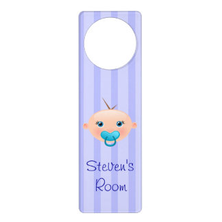 """Name it!"" Baby Face Blue - Nursery Door Hanger"