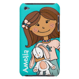 Name kid girl cuddles aqua peach ipod case iPod touch covers