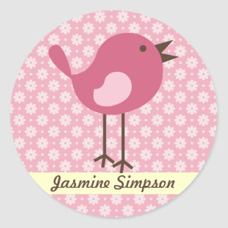 Name Labels/Stickers Pink Bird - Daisy Design Classic Round Sticker