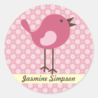 Name Labels/Stickers Pink Bird - Daisy Design Classic Round Sticker