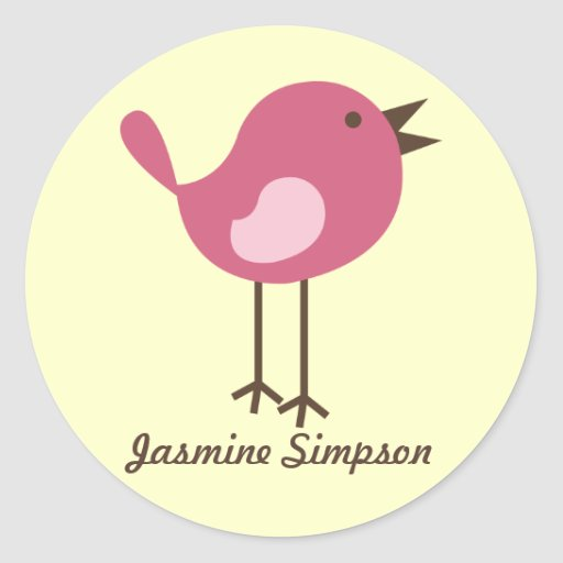 Name Labels/Stickers Pink Bird - Design